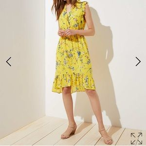 Sleeveless Yellow Foral Printed High Low Dress